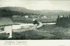 Aust-Agder fylke Vegårshei kommune UBERGSMOEN. Vegaarsheien. Med broen og folk i krysset Utg P. M. Danielsen Brukt 1904. My Heritage