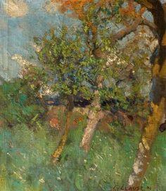 George Clausen.  Orchard Scene.