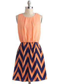 Ojai There Dress - Orange, Blue, Print, Twofer, Sleeveless, Mid-length, Casual