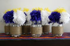Pieces of Anna: DIY Yarn Pom Pom Centerpieces