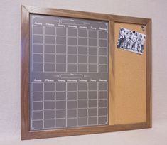 "Framed Dry Erase Board and Cork Board Command Center - Black ""Chalkboard"" Calendar Whiteboard & Bulletin Board - Large Wall Command Center"