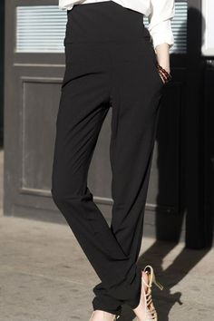 $15.94 Stylish Women's Black High-Waisted Zippered Pants
