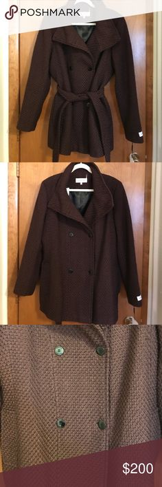 Brown Calvin Klein Coat Brown Calvin Klein Coat. Size XL. Button down. Front and inside pockets. Removable belt. Comes with extra button, See pictures for more details. Pictures are part of the item description so please look carefully. Brand new with tags. Offers welcomed! Bundle and save! Calvin Klein Jackets & Coats