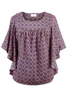 8e52c3cbb18eb Women s Plus Size Pattern Yoke Front Splitneck Tunic Top. See More. from  landsend.com · Plus Size Woven Print Batwing Top image