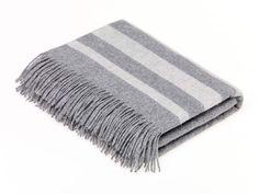 Seville Stripe - Wool/Angora Throw - Mid Grey