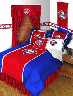 MLB Philadelphia Phillies Comforter Set Baseball Twin Bedding by store51. $95.85. Pillowcase is white and made of 100% cotton knit jersey. One MLB Philadelphia Phillies twin comforter and pillowcase. Genuine licensed merchandise. Machine washable. One twin size comforter 63 x 86 in. (160 cm x 218 cm). One standard Pillowcase, finished size 20 x 30 inches (51 x 76 cm) to fit 20 x 26 inches pillow. Pillowcases are white with 'GO TEAM GO' imprinted all over. Pillowcase...