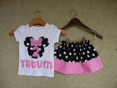Minnie Mouse Shirt with Name and Matching Skirt Set
