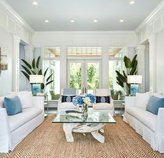 A classic, crisp white living room with livable slipcovered furniture, pops of blue and the perfect accents. Nautical Furniture, Beach House Furniture, Living Room Decor Furniture, Coastal Furniture, Home Furniture, Coastal Living Rooms, Home Living Room, Furniture Slipcovers, Furniture Chairs