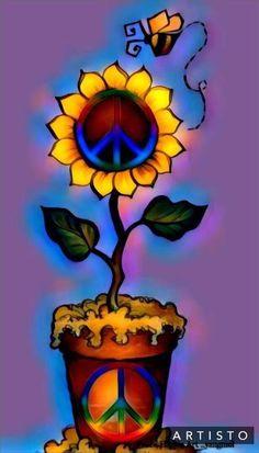 Let Peace grow. Hippie Peace, Happy Hippie, Hippie Love, Hippie Style, Peace Love Happiness, Peace And Love, Peace Sign Art, Peace Signs, Pintura Hippie