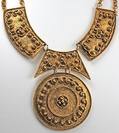 Vintage Runway Etruscan Style Costume Jewelry Statement Necklace