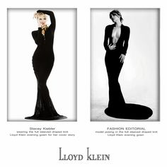 Stacey Keibler wearing #Lloyd_Klein Couture in a long sleeved, floor length, midnight sapphire, knit gown.