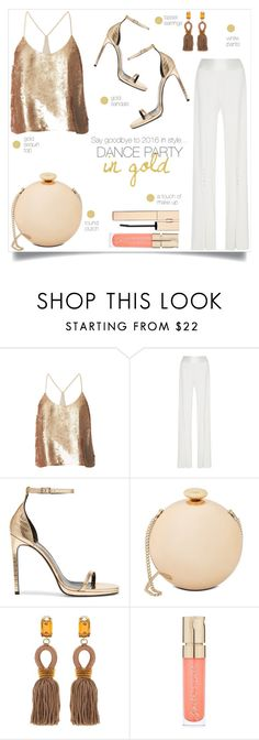 """""""DANCE PARTY in gold"""" by taniadeseptembre ❤ liked on Polyvore featuring TIBI, Jonathan Simkhai, Yves Saint Laurent, Love Moschino, Oscar de la Renta and Smith & Cult"""