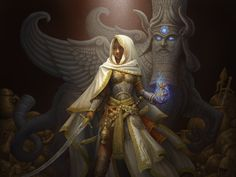 Looks like Theros artwork.   Is this Elspeth and Sphinx's Disciple?