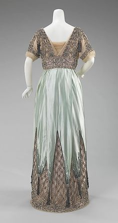 Evening dress (image 2 - back) | House of Worth | French | 1910 | silk, metal | Brooklyn Museum Costume Collection at The Metropolitan Museum of Art | Accession Number: 2009.300.3355