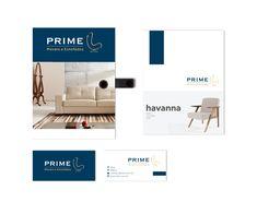 Neste projeto unimos a delicadeza e requinte do dourado com a autoridade e seriedade do azul. Projeto desenvolvido para empresa Prime. Projeto: www.logoteria.com.br Empresa: Prime  Segmento: Móveis e Estofados Marketing, Girly Girl, Blue