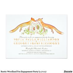 Rustic Woodland Fox Wedding Invitations Woodland fox couple wedding invitation for your rustic country wedding. Whimsical foxes stationery for nature lovers planning their wedding in forest or countryside. --- All design elements painted by Jinaiji Woodland Wedding Invitations, Heart Wedding Invitations, Engagement Party Invitations, Rustic Invitations, Bridal Shower Invitations, Invites, Invitation Ideas, Wedding Stationery, Fox Wedding