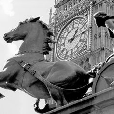 'Big Ben & Boudicca's Chariot' by Niki Gorick. #london #bigben #boudicca #photography #greeting cards .SKU: NG011 Niki Goricks ability to capture London and its people has gained her the well-deserved reputation as one of the UKs leading black and white photographers.   http://cardsgalore.co.uk/index.php/cards/by-collection/niki-gorick/big-ben-boudicca-s-chariot.html