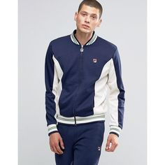 Fila Vintage Track Jacket With Stripes (£47) ❤ liked on Polyvore featuring men's fashion, men's clothing, men's activewear, men's activewear jackets and navy