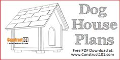 Large dog house plans include step-by-step illustrated instructions, measurements, cutting list, and shopping list. Easy to build sloped roof dog house. Shed Plans 12x16, Lean To Shed Plans, Diy Shed Plans, Coop Plans, Large Dog House Plans, Bird House Plans, Simple Workbench Plans, Diy Workbench, Workbench Organization