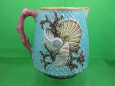 Antique Fielding Majolica Shell & Net Pitcher