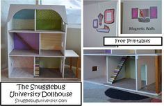Snugglebug University: Dollhouse Remodel - ideas for DIY remodel (rescue) of dollhouse. I like the idea of magnetic primer paint - since I was horrified to find that my daughter one day decided to superglue all the miniature paintings and furniture to the walls and floors of her dollhouse! This project gives me ideas on how to rescue it, after much scraping is done to remove the glued on furniture!