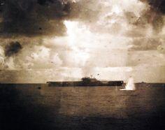 "Battle of Santa Cruz Islands, October 26, 1942. Sinking of USS Hornet (CV 8) by attacks from Japanese Nakajima B5N ""Kate"" torpedo bomber. Photographed from USS Pensacola (CA 24) official US Navy photos! (Vintage)"