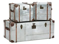 BARDEM SET OF 3 SILVER TRUNKS at Dansk Home Accents.