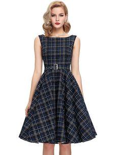 Women Summer Rockabilly Dress Print floral Audrey Hepburn tunic robe Casual clothing Vestidos 50s Vintage Plaid Dresses