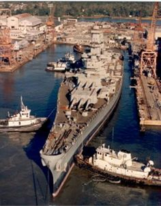 Battleship USS Wisconsin (BB-64) being reactivated at Ingalls Shipbuilding in Pascagoula, Mississippi in 1987.