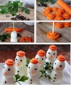 Bonecos de neve com ovos-  Artesanato