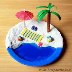 Paper Plate Beach - Large paper plate  Modeling clay or homemade salt dough  Play dough or self-hardening clay  Sand  Unflavored gelatin  Blue food coloring  Cocktail umbrella  Small sea shells  Colored paper  Blue poster paint  Crayons  Glue or scotch tape  Paint brush  Scissors