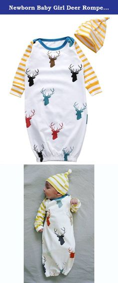 Newborn Baby Girl Deer Romper Bodysuit Jumpsuti Sleeping Pajama Hat Outfits (M/ 6-12 Months). Newborn Infant Baby Boys Girls Romper+Hat Jumpsuit Bodysuit Clothes Outfit Size information: S:Length 65cm, Bust 22cm, for 0-6 Months M:Length 75cm,Bust 25cm, for 6-12 Months .