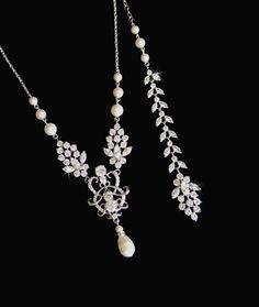 Bridal Necklace Backdrop Necklace Bridal Jewelry by CrystalAvenues