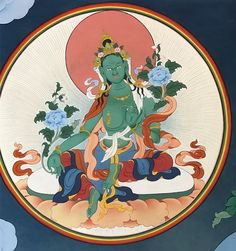"Green Tara (Tib. སྒྲོལ་མ, Drolma) or Ārya Tārā, also known as Jetsun in Tibetan Buddhism, is a female Bodhisattva in Mahayana Buddhism who appears as a female Buddha in Vajrayana Buddhism. She is known as the ""mother of liberation"", and represents the virtues of success in work and achievements. #ColoringForMeditation #TibetanArt #TibetanColoring #Thangka #BuddhistArt #BuddhistColoring"