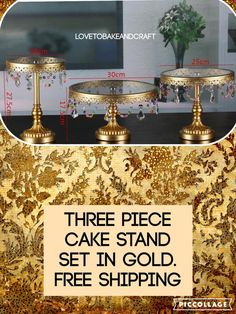 Crystal Cake stands gold and crystal 3 piece by Lovetobakeandcraft