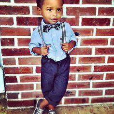 2PCS Kids Baby Boy Clothes Blue Shirt+ Pants Suspenders Bowtie Outfit 2-6Y