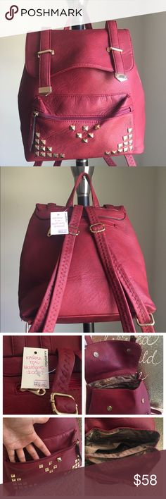 "Cranberry Crave backpack Brand New Boutique Item (backpack)  ONLY 1 of this color and style available! -Brand: sold by Cali&Karma (retails for $98) -Color: cranberry•gold hardware -Dimensions: 11"" length, 12"" height, 5"" width -Details: snap closure, front&back zip pocket, interior divider&pocket&pouches; any creases will come out with use; lighting varies color  -Other: no trades, holds /cannot be restocked/open to  •good o f f e r s• using Posh's offer button/ **soft animal friendly VEGAN…"