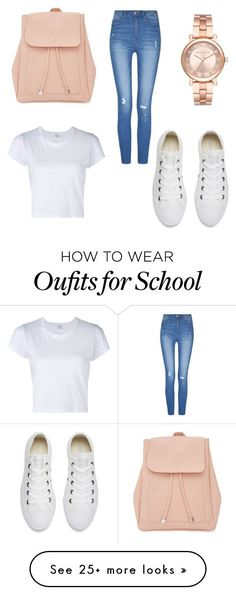 """""""School Time"""" by tayviamartin-1 on Polyvore featuring New Look, RE/DONE, Converse and Michael Kors"""