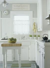 Kitchen Q: Small Kitchen Design  Like light fixture, white, breadboard and very small island
