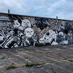New @enmasseproject wall done! Fun day with @radah @zerochicago @180iq_tns @_melon1_ @niceone101 @robotkin @ladylucx @crush_entity @jshantzart