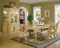 Elegant Formal Dining Room Sets with Strong and Durable Material : Luxurious Storage In Spasious Dining Space With Elegant Formal Dining Room Sets On Traditional Carpet Near White Framed Windows On Clean Wall Under White Painted Ceiling
