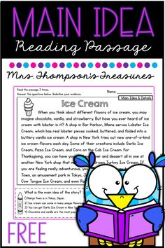 Free Main Idea Reading Comprehension Passage - Classroom Freebies