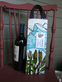 Upcycled Feed Bag Wine Tote