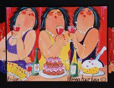 Schilderij dikke dames painting fat ladies.