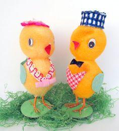 Vintage Easter Chicks  Felt Cloth Flocking