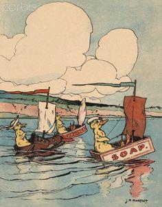 Ducklings racing in makeshift sailboats