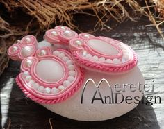 #FREE SHIPPING #Handmadesoutache #jewelryset #rose&white #extravagant #largeearring #romantic #cute  #ooak by MereteiAndesign on Etsy