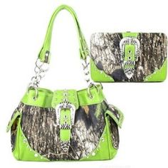 Western Purse+wallet Belt Buckle Camouflage Camo Rhinestones Studs Lime Green