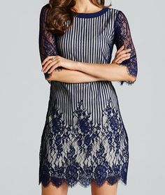 Navy Lace Stripe - A pretty blue tunic dress with long sleeves, striped body and lace trims by Little Mistress. Long Sleeve Tunic Dress, Sleeve Dresses, Navy Lace, Navy Stripes, Fashion Company, Lace Trim, Sequin Skirt, Cold Shoulder Dress, Casual