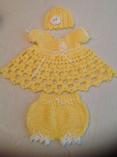 Newborn Crochet Baby Dress and Diaper Pants by JeansNeedles, $25.00